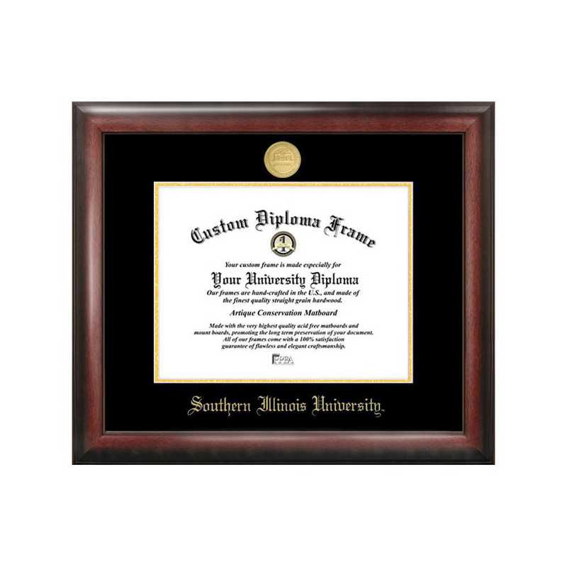 IL972GED-1185: Southern Illinois University 11w x 8.5h Gold Embossed Diploma Frame