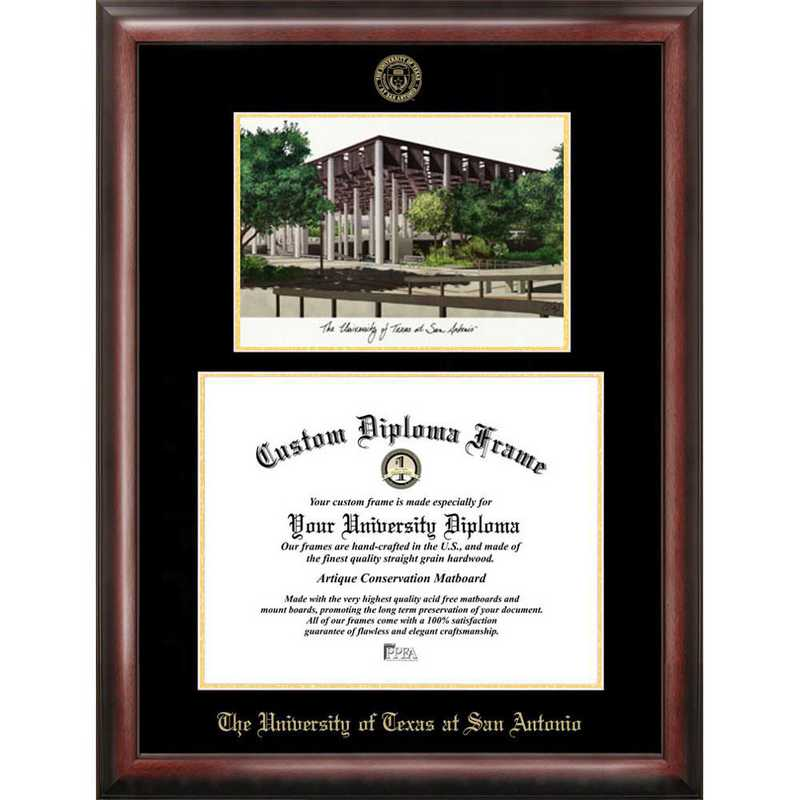 TX948LGED-1411: University of Texas, San Antonio 14w x 11h Gold Embossed Diploma Frame with Campus Images Lithograph