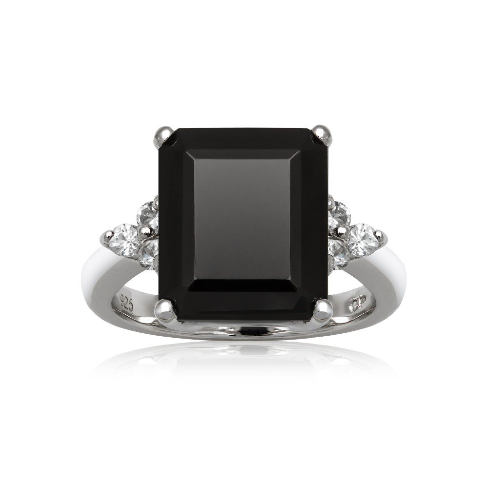 Sterling Silver 12x10mm Black Onyx White Topaz Ring