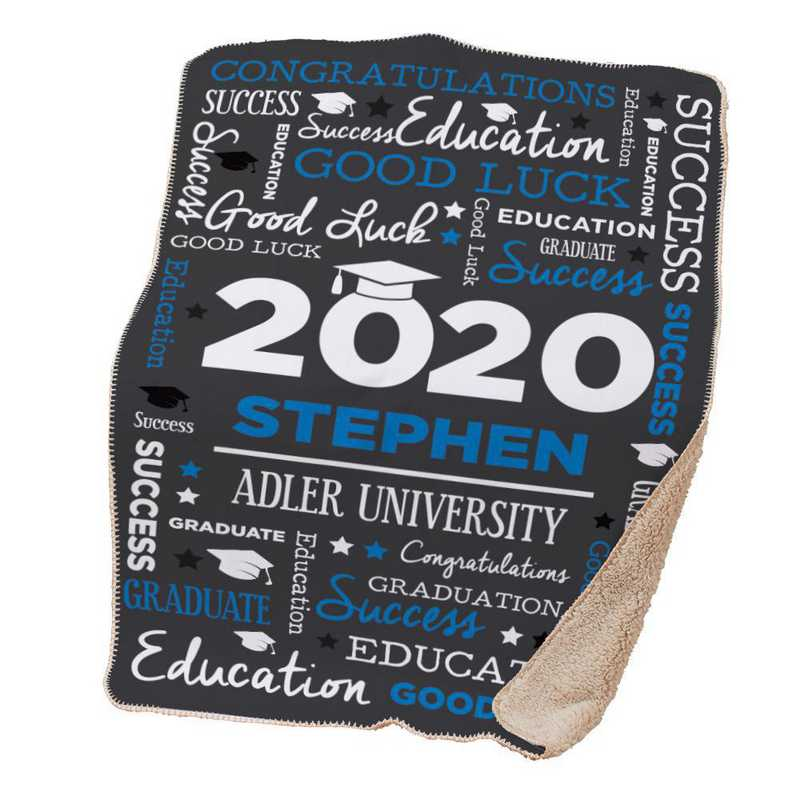 U1400887BL: PGS Word Art Grad Throw Blue
