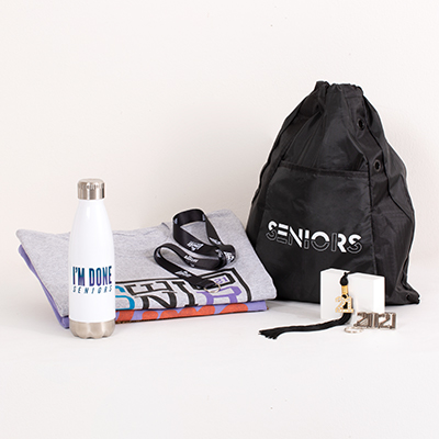"This one–stop shop includes all of your must-have Senior celebration gear. This essential Grad Pack includes:   a FREE bling tassel to hang or display anywhere your choice of one best-selling T-shirt a classic preshrunk cotton Seniors 2021 T-shirt an ""I'm Done"" water bottle a Seniors drawstring backpack a 2021 silvertone key ring a ""No Limits"" lanyard"