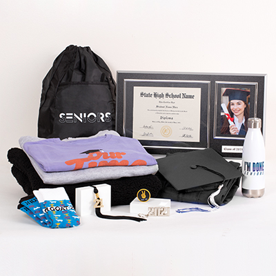 """Make this year both exciting and hassle-free with all the best 2021 Senior celebration gear arriving in one box. This incredible Grad Pack includes: FREE cap & gown, graduation essentials - typically includes a tassel, diploma cover and/or any additional items required for graduation (varies by school; ask your rep for details), a bling tassel to hang or display anywhere, a quality wood diploma frame for your diploma alongside a 4"""" x 6"""" photo and year plaque (available for 6"""" x 8"""", 7"""" x 9"""", 8"""" x 10"""", or 8.5"""" x 11"""" diplomas), a Class of 2021 Senior hoodie of cotton and polyester, your choice of one pullover or hoodie (including Sherpa-fabric options), your choice of two best-selling T-shirts, Seniors 2021 polyester mesh athletic shorts or 2021 socks of cotton, nylon and spandex, an """"I'm Done"""" water bottle, a Seniors drawstring backpack, a 2021 silvertone keyring, a """"See Ya"""" phone socket, sku number A0227669"""