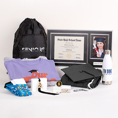 Make sure your year is fun and memorable by having all the top 2021 Senior celebration gear. This fantastic Grad Pack includes:   FREE cap & gown graduation essentials – typically includes a tassel, diploma cover and/or any additional items required for graduation (varies by school; ask your rep for details) a bling tassel to hang or display anywhere a quality wood diploma frame for your diploma alongside a 4