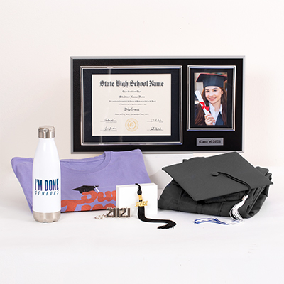 "Celebrate your Senior pride with everything you need in one bundle. This popular Grad Pack includes: cap & gown, graduation essentials - typically includes a tassel, diploma cover and/or any additional items required for graduation (varies by school; ask your rep for details), a souvenir tassel to hang or display anywhere, a quality wood diploma frame for your diploma alongside a 4"" x 6"" photo and year plaque (available for 6"" x 8"", 7"" x 9"", 8"" x 10"", or 8.5"" x 11"" diplomas), your choice of one best-selling T-shirt, an ""I'm Done"" water bottle, a 2021 silvertone keyring, sku number A0227662"